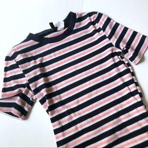 H&M Purple and Black Striped T-shirt Dress